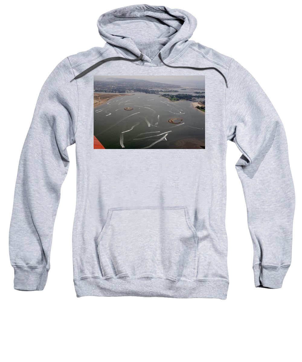 San Diego Sweatshirt featuring the photograph San Diego Mission Bay Water Aerial by Phyllis Spoor