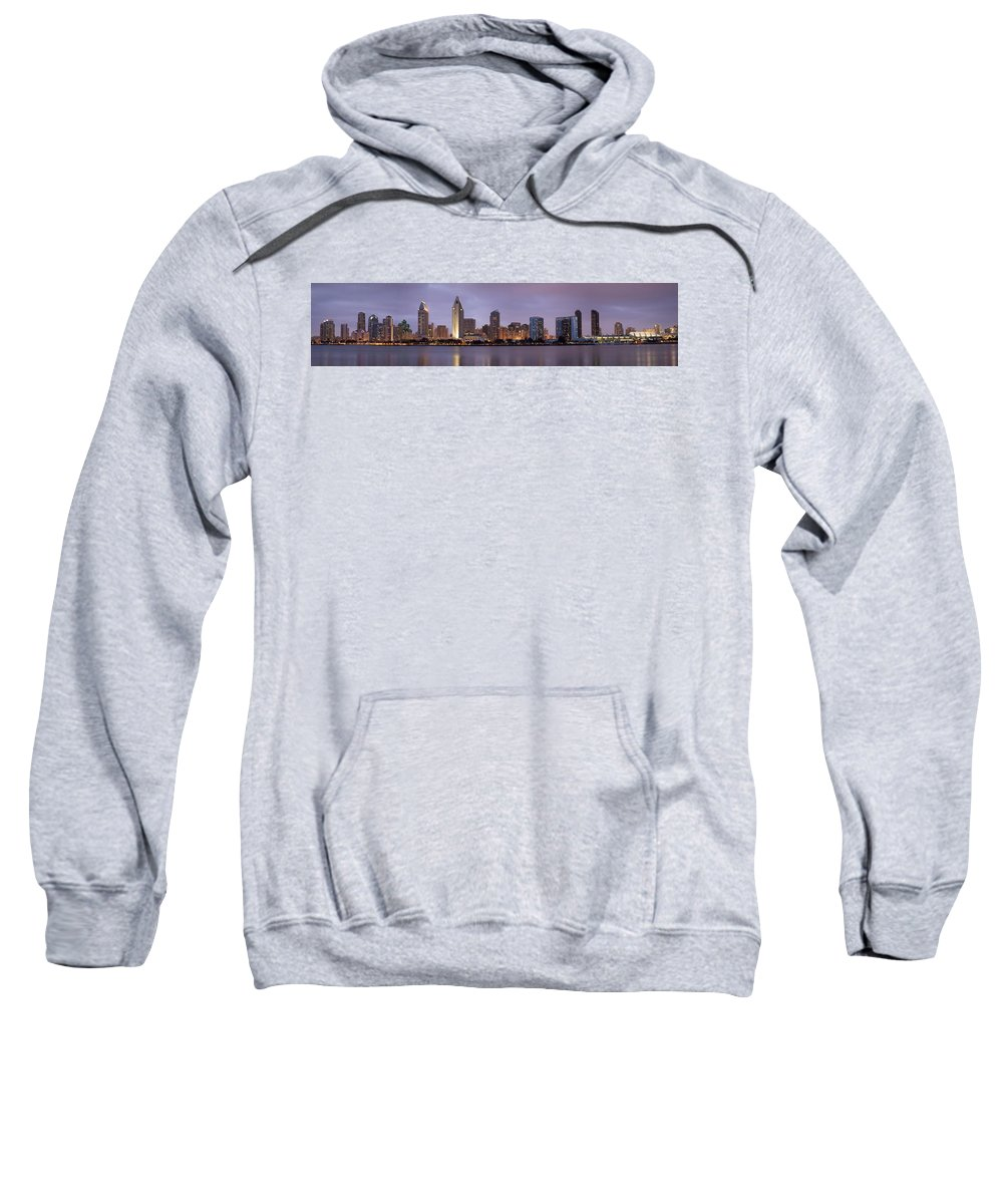 3scape Sweatshirt featuring the photograph San Diego Skyline At Dusk Panoramic by Adam Romanowicz