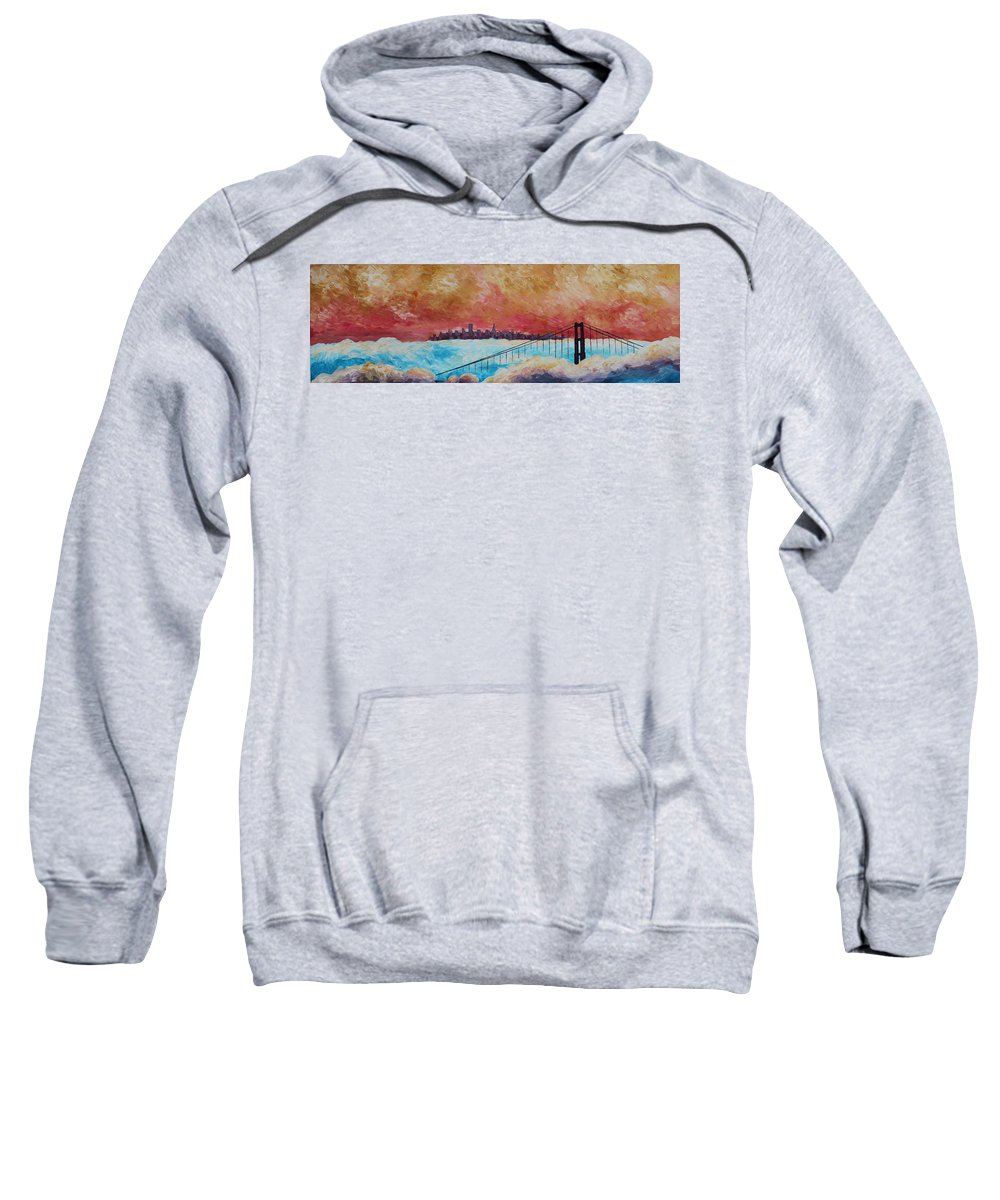 Golden Gate In Dust Sweatshirt featuring the painting San Francisco Golden Gate Bridge In The Clouds by M Bleichner