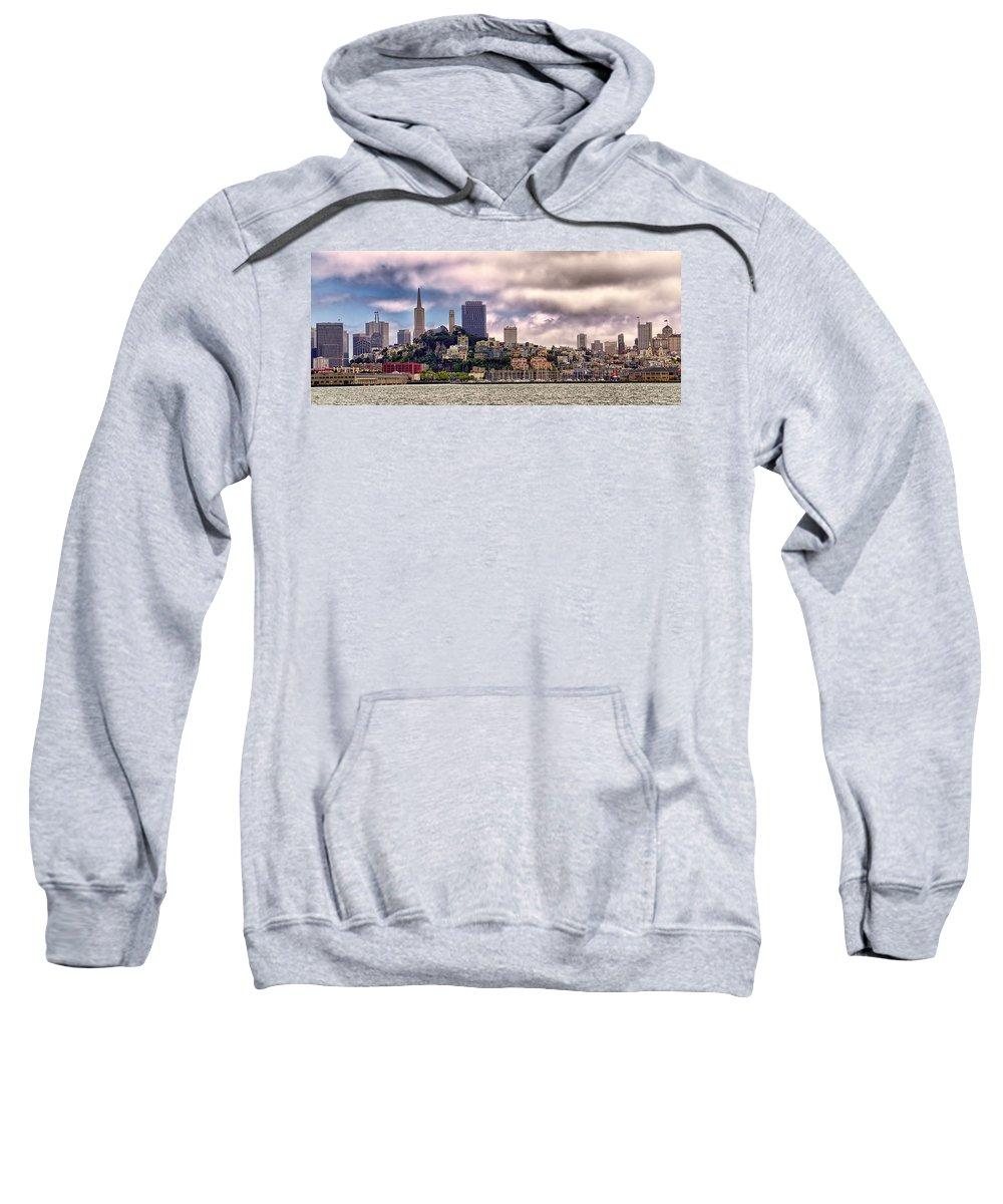 Panorama Sweatshirt featuring the photograph San Francisco Skyline by Jon Berghoff