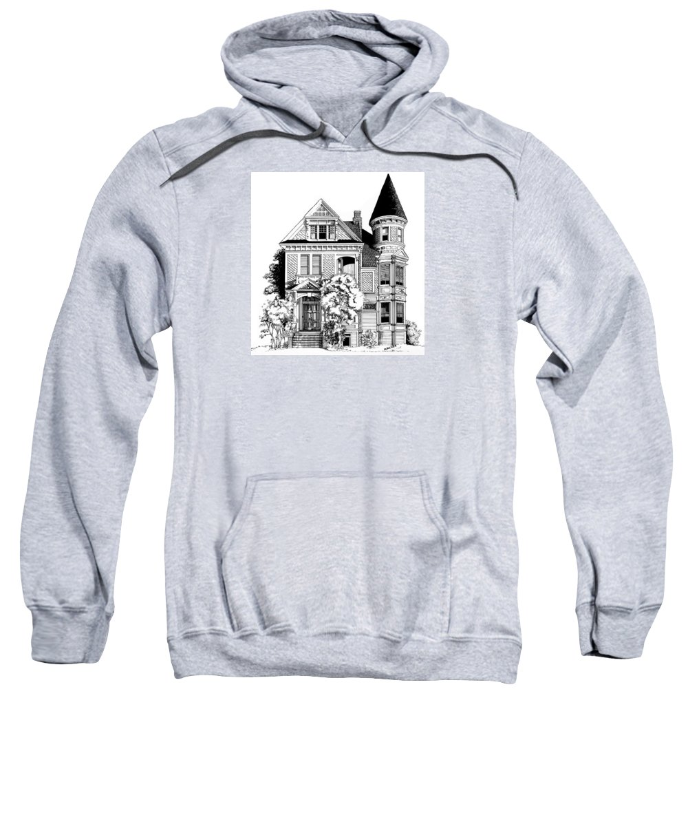 Pen And Ink Sweatshirt featuring the drawing San Francisco Victorian by Mary Palmer