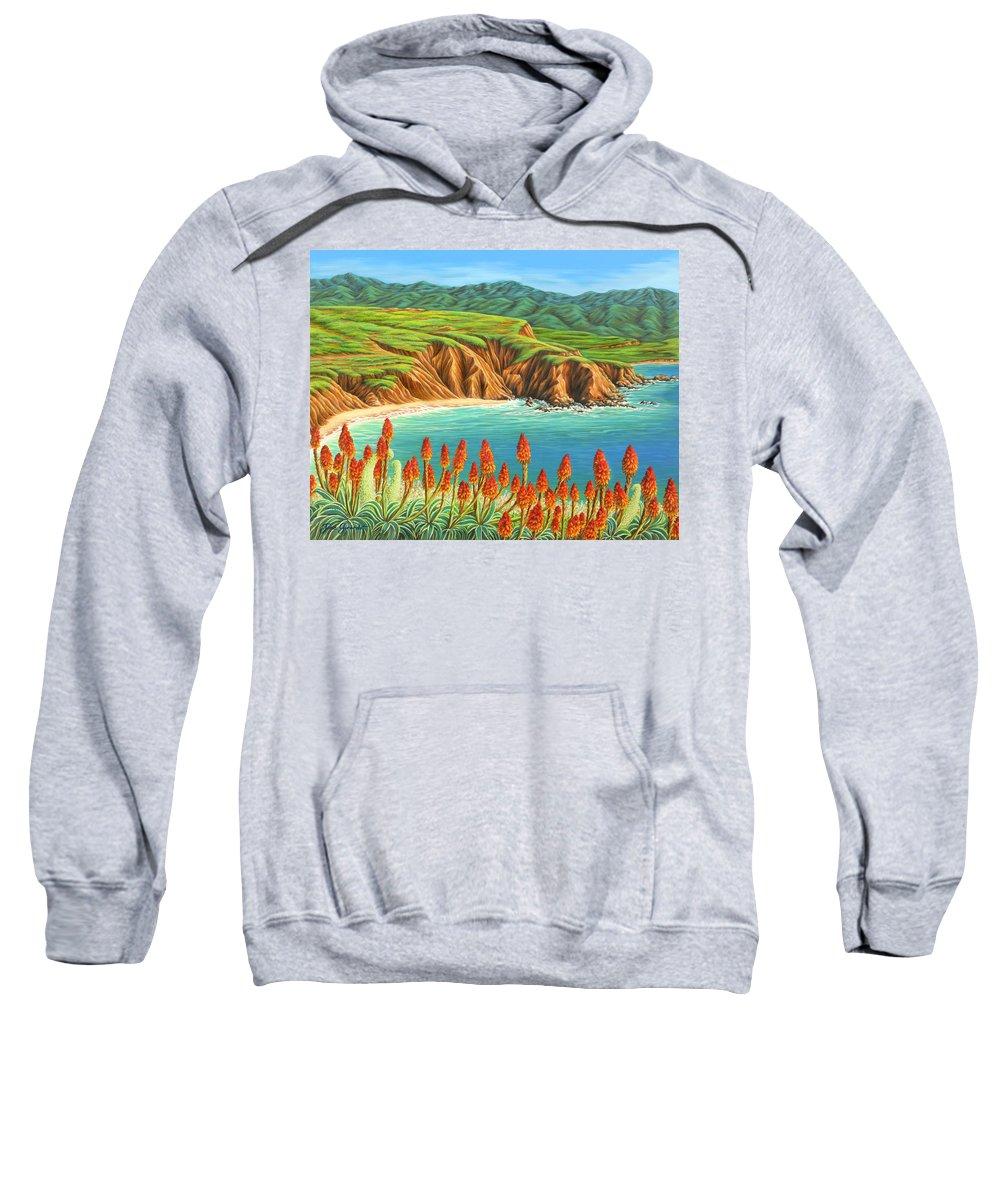 Ocean Sweatshirt featuring the painting San Mateo Springtime by Jane Girardot