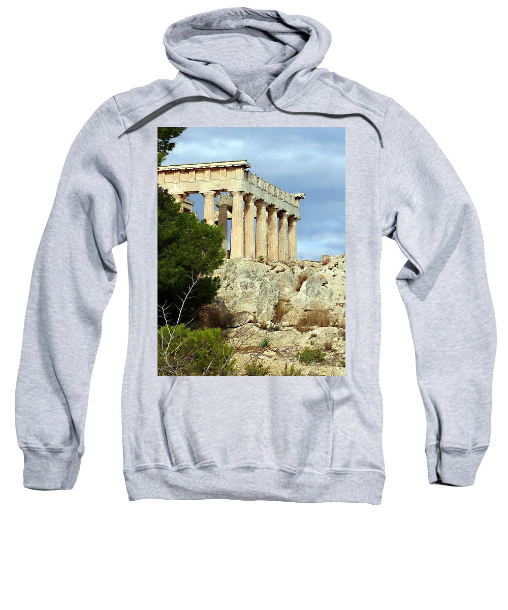 Sanctuary Of Aphaia Sweatshirt featuring the photograph Sanctuary Of Aphaia 2 by Ellen Henneke
