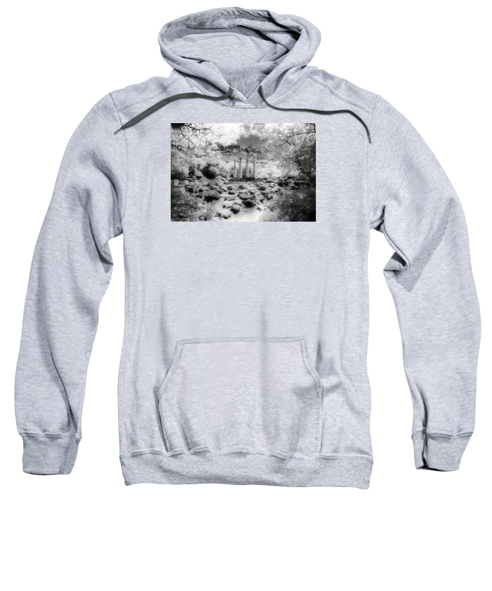 B\w Infrared Archaeological Sweatshirt featuring the photograph Sanctuary Of Gods And Goddesses by Andonis Katanos