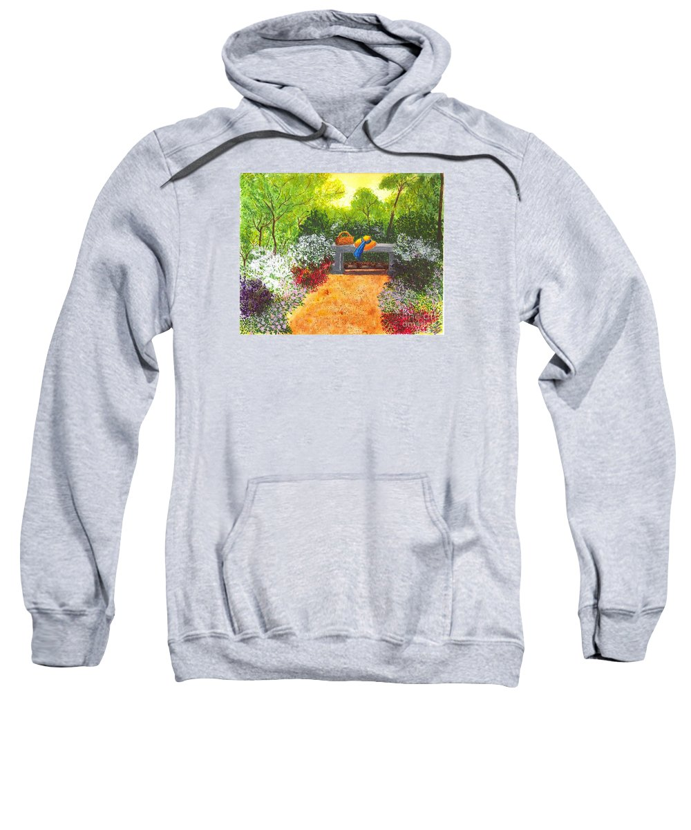 Garden Painting Sweatshirt featuring the painting Sanctuary by Patricia Griffin Brett