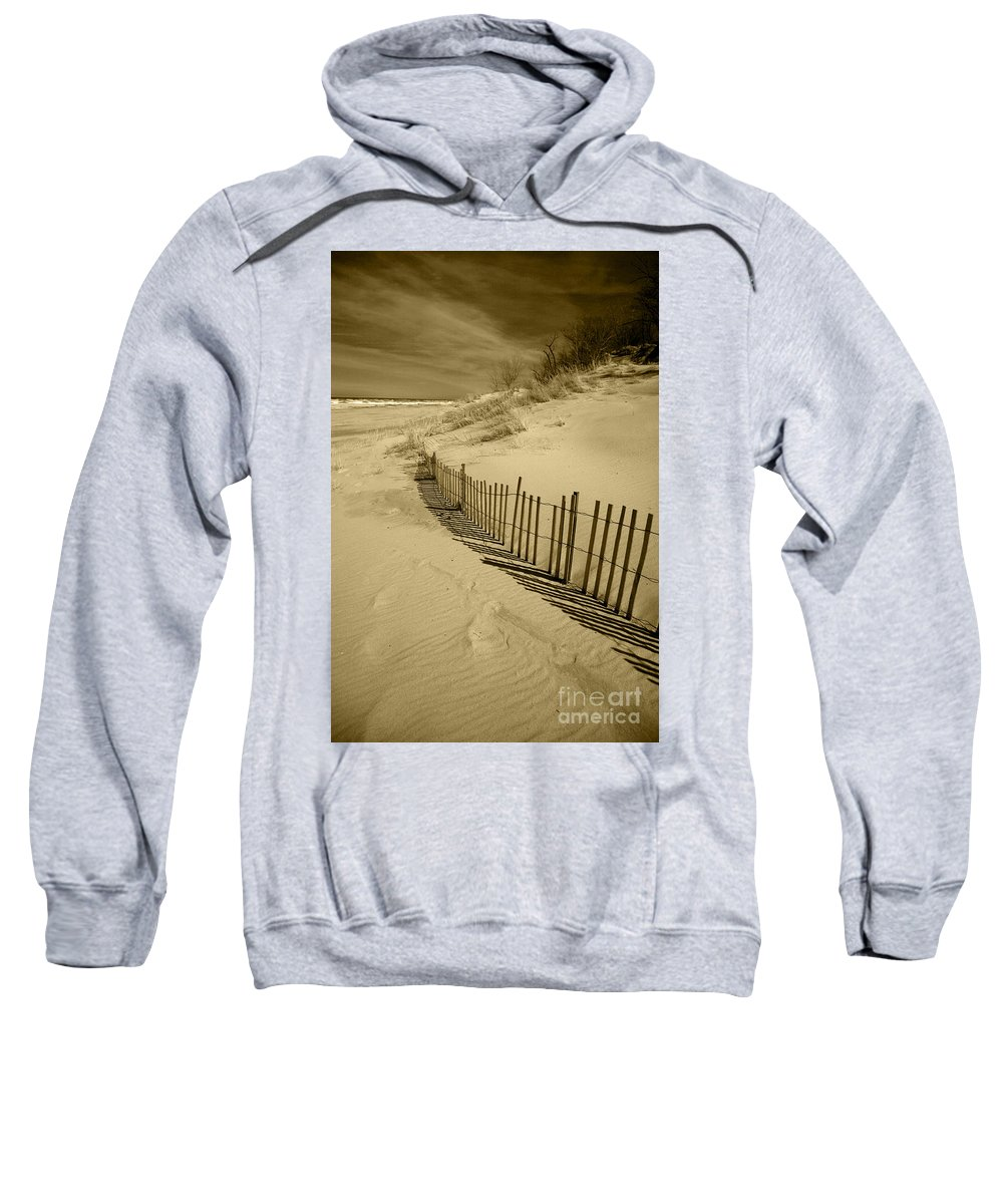 Sand Dunes Sweatshirt featuring the photograph Sand Dunes And Fence by Timothy Johnson