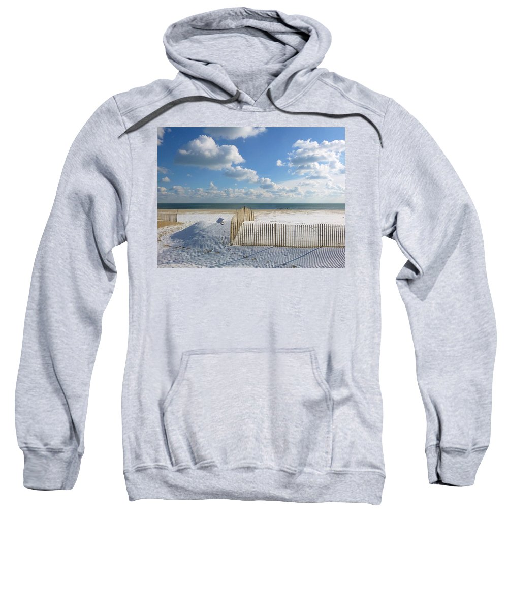 Ocean Grove Sweatshirt featuring the photograph Sand Fence by Ellen Paull