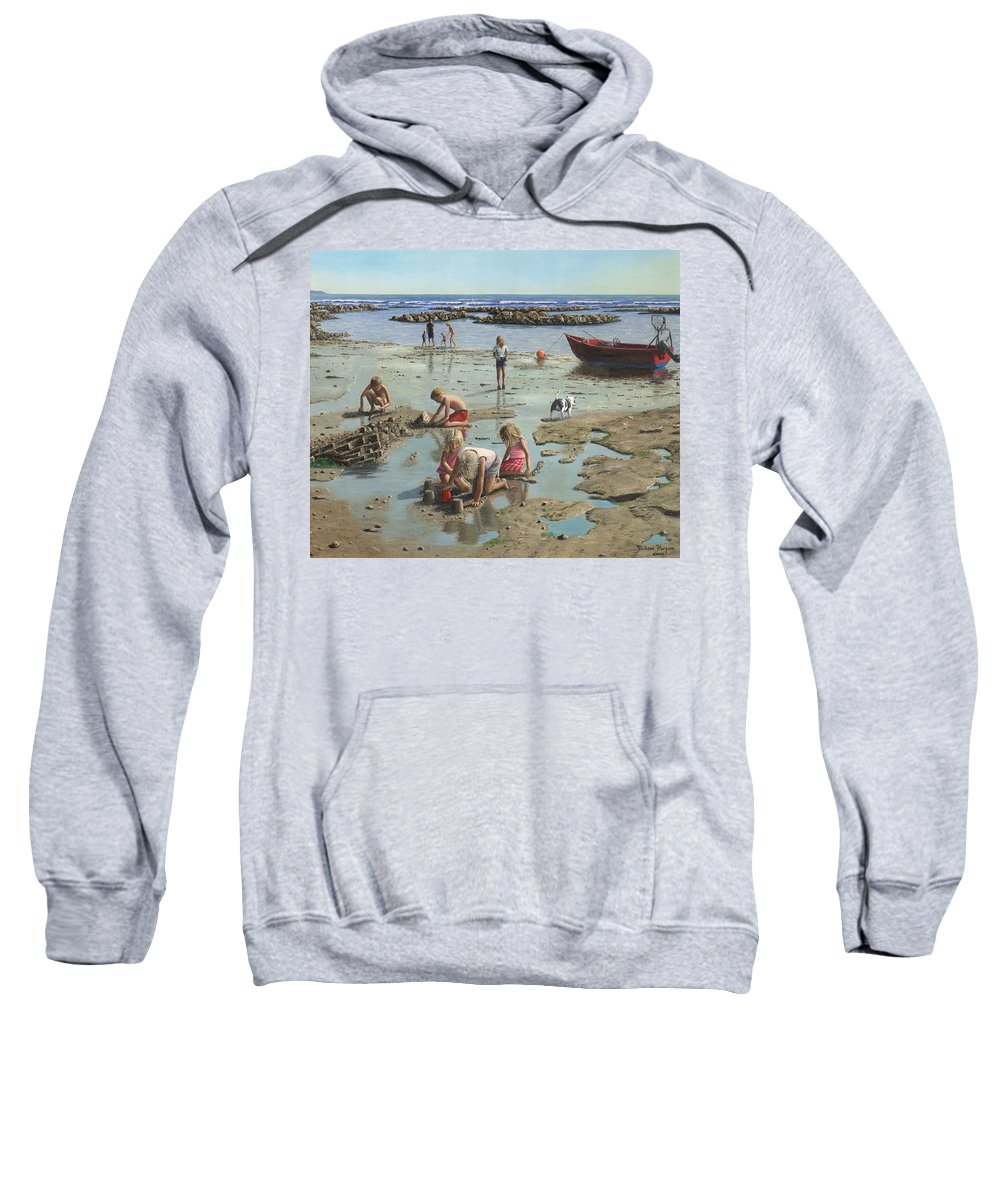 Landscape Sweatshirt featuring the painting Sandcastles by Richard Harpum