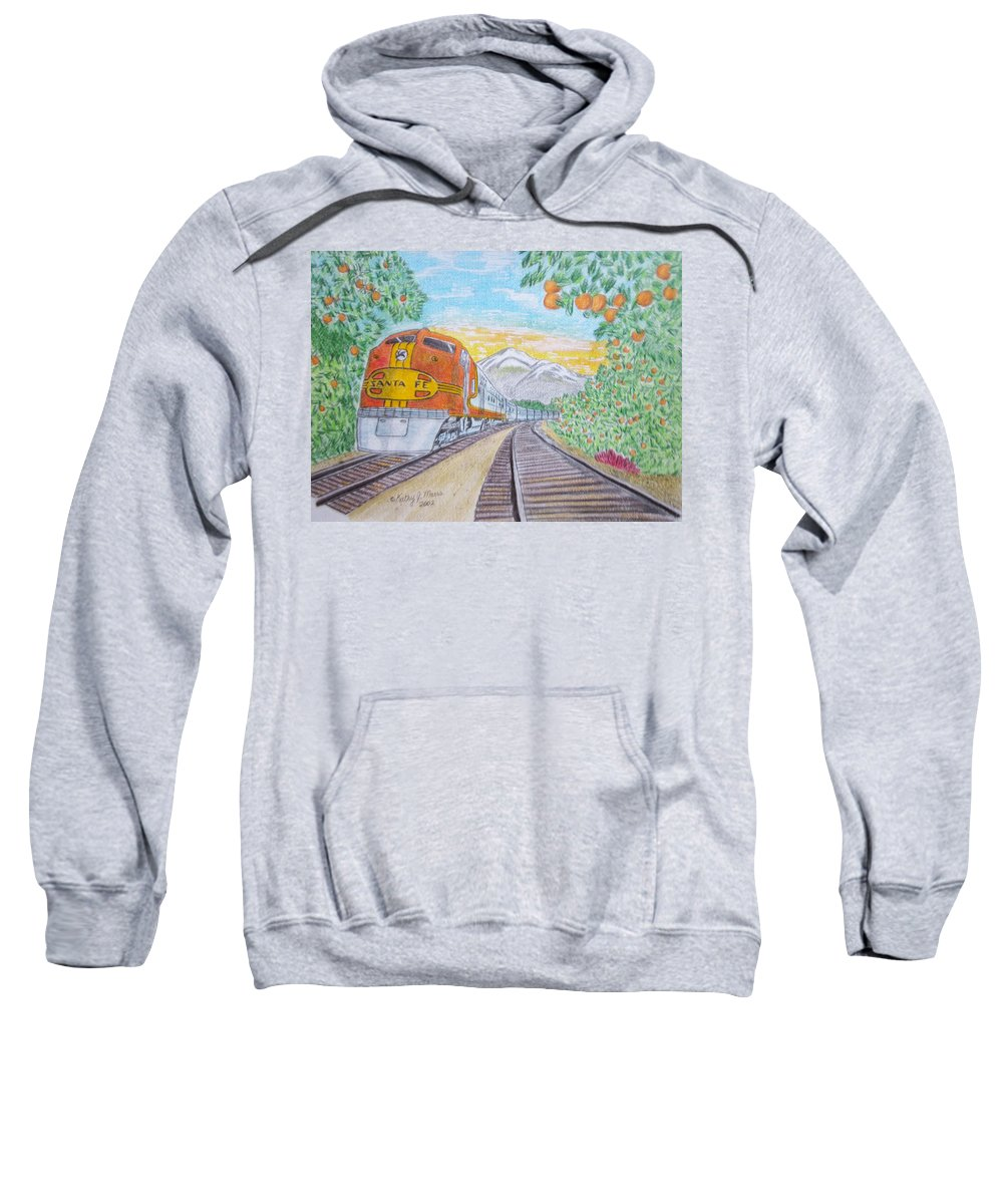 Santa Fe Sweatshirt featuring the painting Santa Fe Super Chief Train by Kathy Marrs Chandler