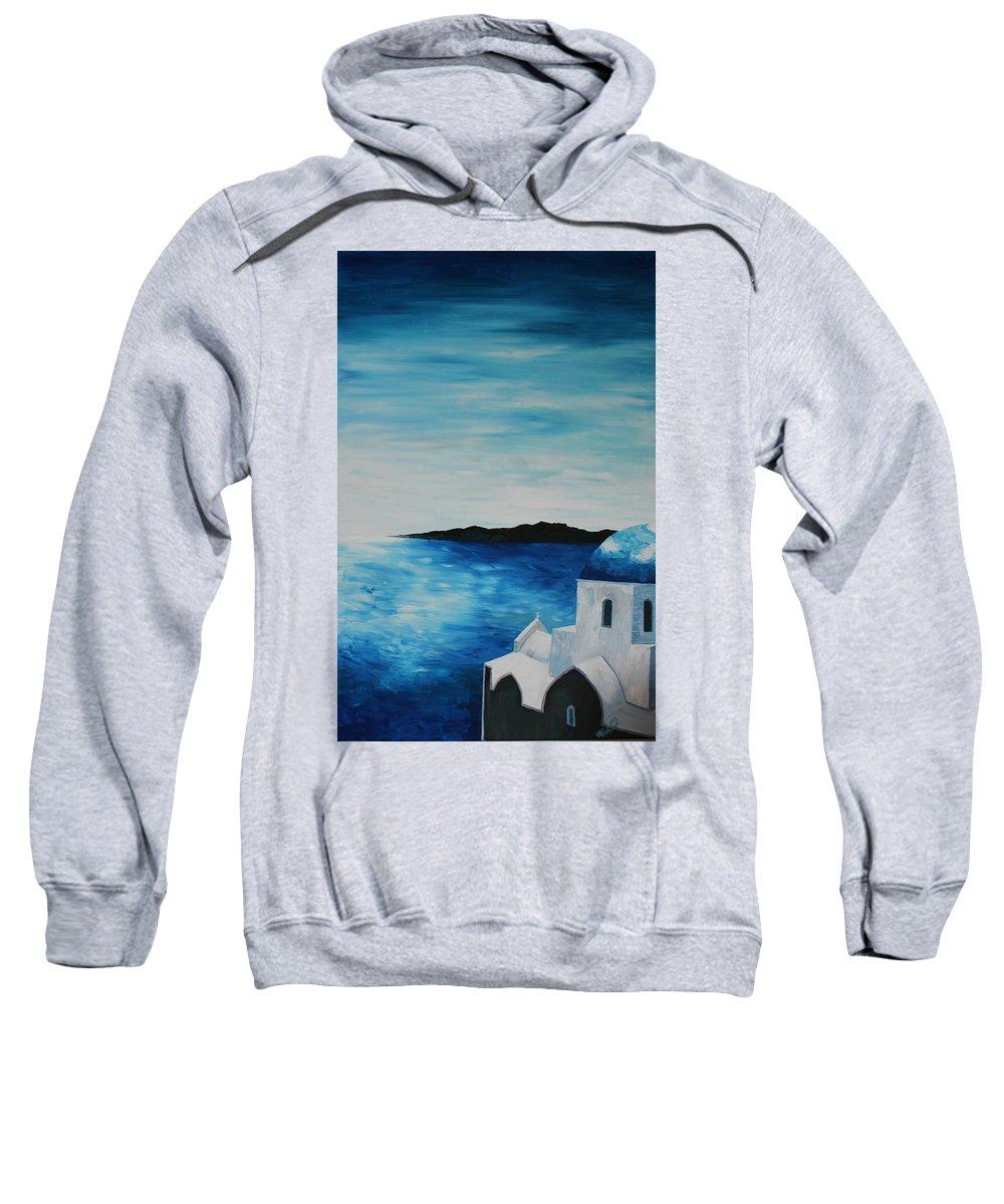 Santorin Sweatshirt featuring the painting Santorini Blue Dome by M Bleichner