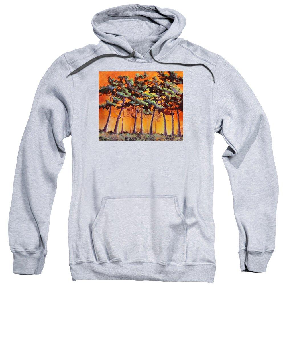 Landscape Sweatshirt featuring the painting Sardis Pines by Sue Darius