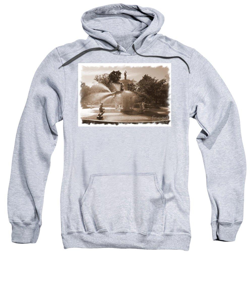 Savannah Fountain Sweatshirt featuring the photograph Savannah Fountain In Sepia by Carol Groenen