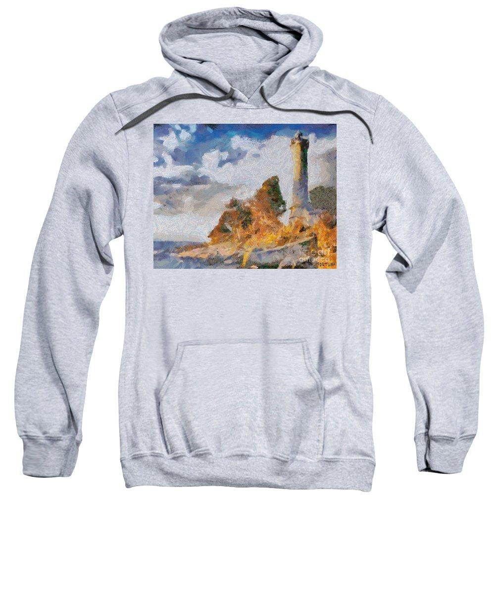 Lighthouse Sweatshirt featuring the painting Savudrija Lighthouse by Dragica Micki Fortuna