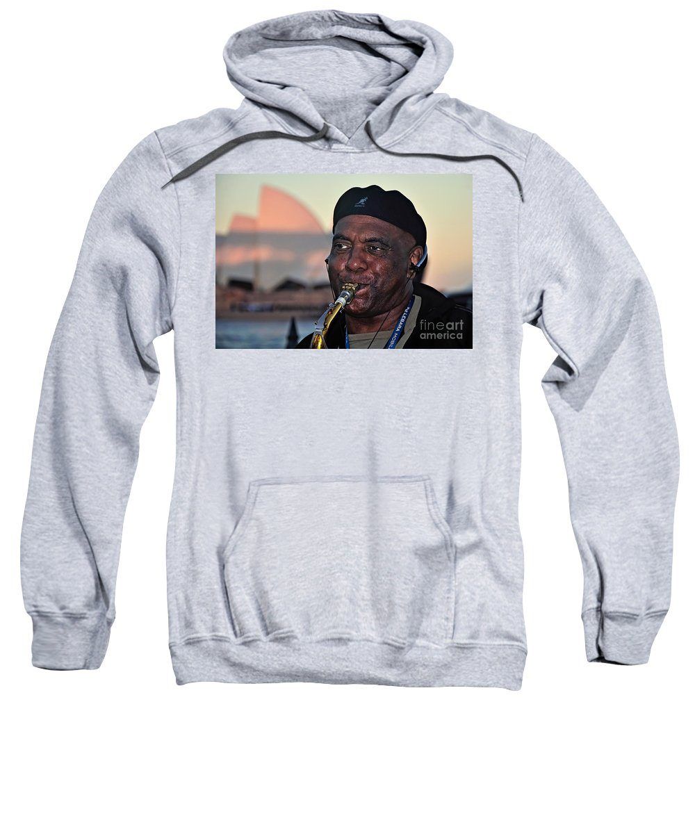 Photography Sweatshirt featuring the photograph Sax In The City by Kaye Menner