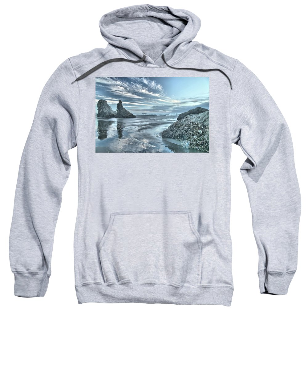 Bandon Beach Sweatshirt featuring the photograph Sculptures On The Shore by Adam Jewell