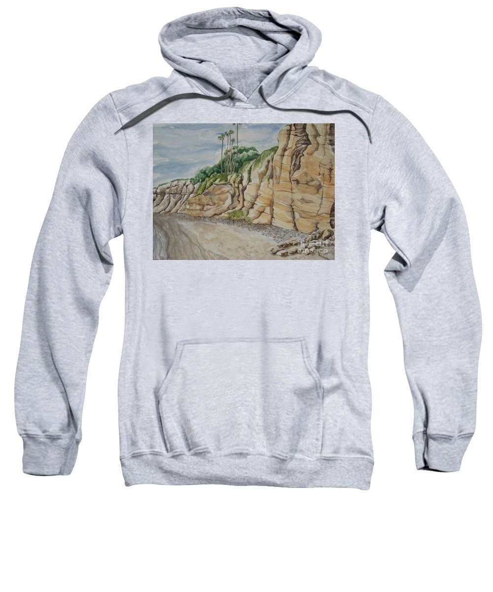 Cliffs Sweatshirt featuring the painting Sd Cliffs by John Wilson