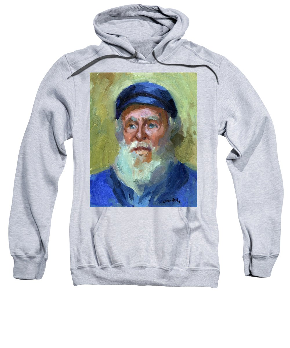 Ship Captain Sweatshirt featuring the painting Sea Captain 1 by Diane McClary
