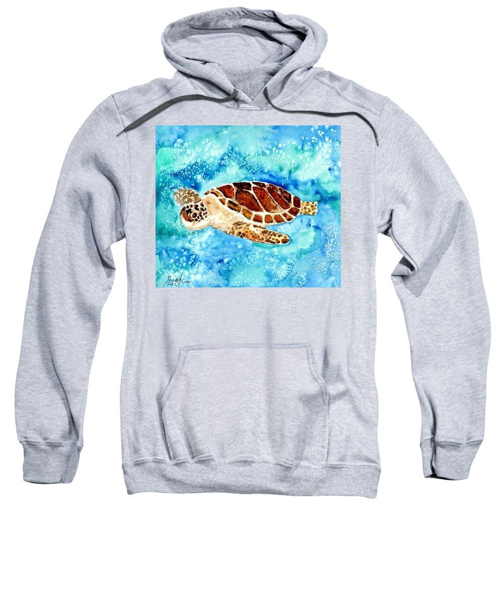Sea Turtle Sweatshirt featuring the painting Sea Turtle by Derek Mccrea