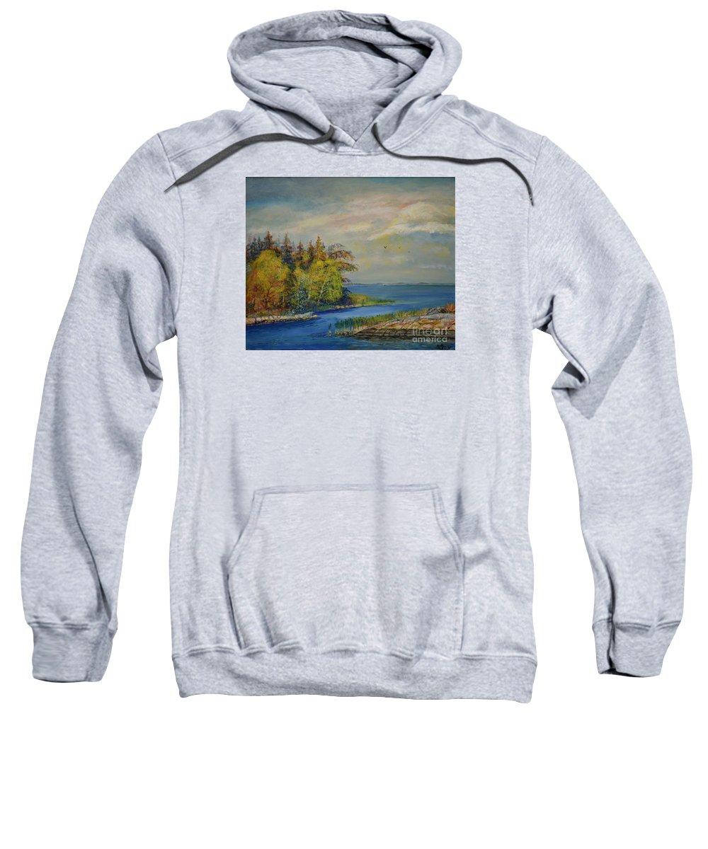 Raija Merila Sweatshirt featuring the painting Seascape From Hamina 3 by Raija Merila