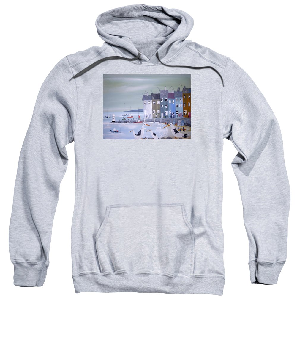 Seascape Sweatshirt featuring the painting Seaside Seagulls by Trudy Kepke