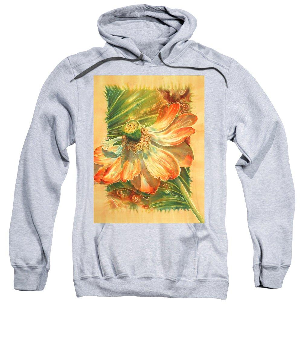 Flower Sweatshirt featuring the painting Season's End by Deborah Younglao