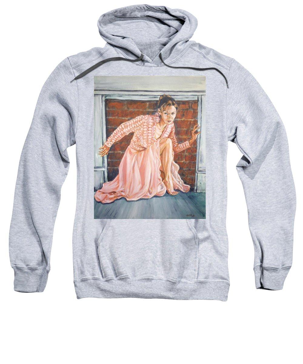 Blonde Sweatshirt featuring the painting Secret Passage by Bryan Bustard