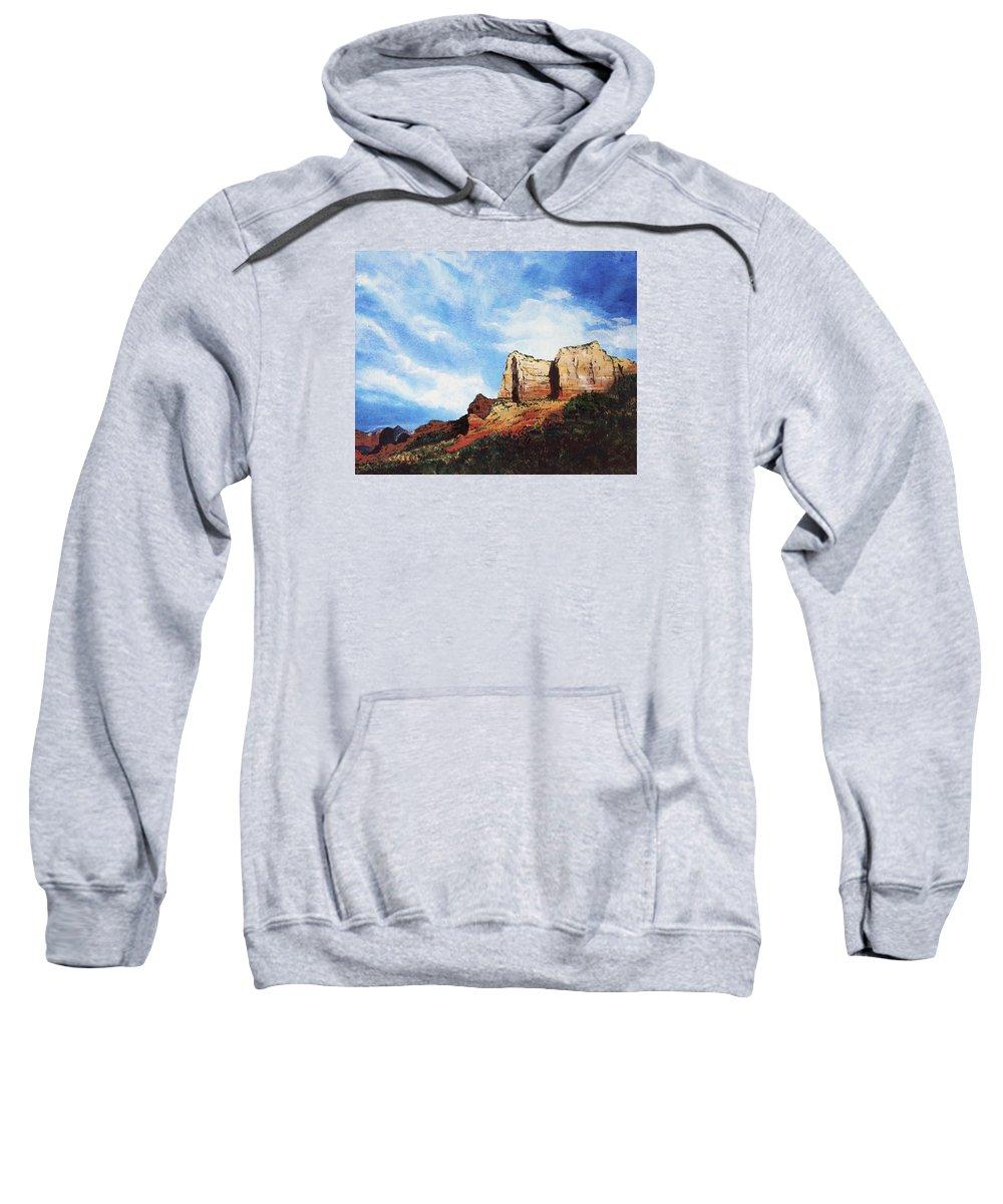Sedona Arizona Sweatshirt featuring the painting Sedona Mountains by Mary Palmer
