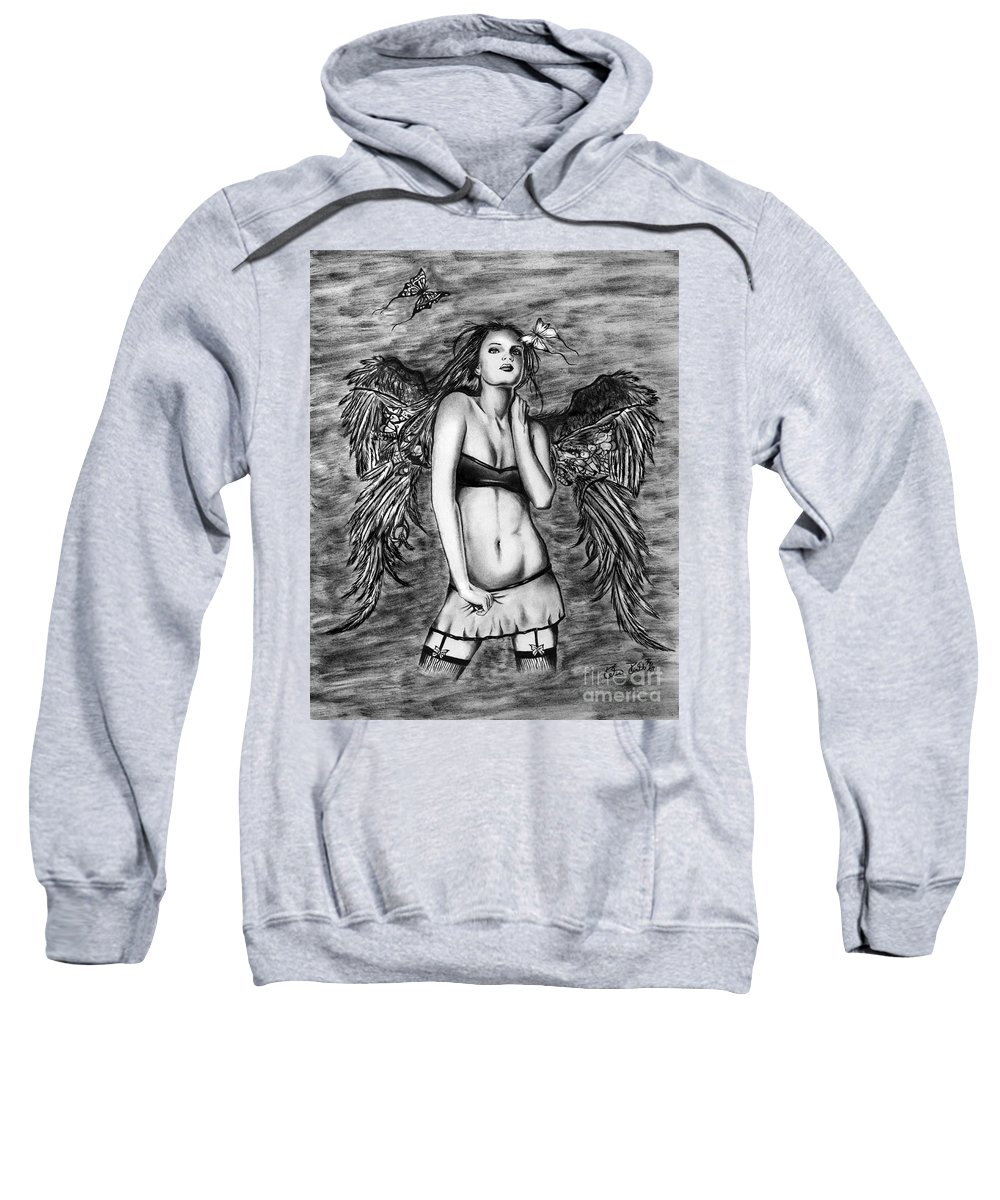 Seductive Angel Sweatshirt featuring the drawing Seductive Angel by Peter Piatt