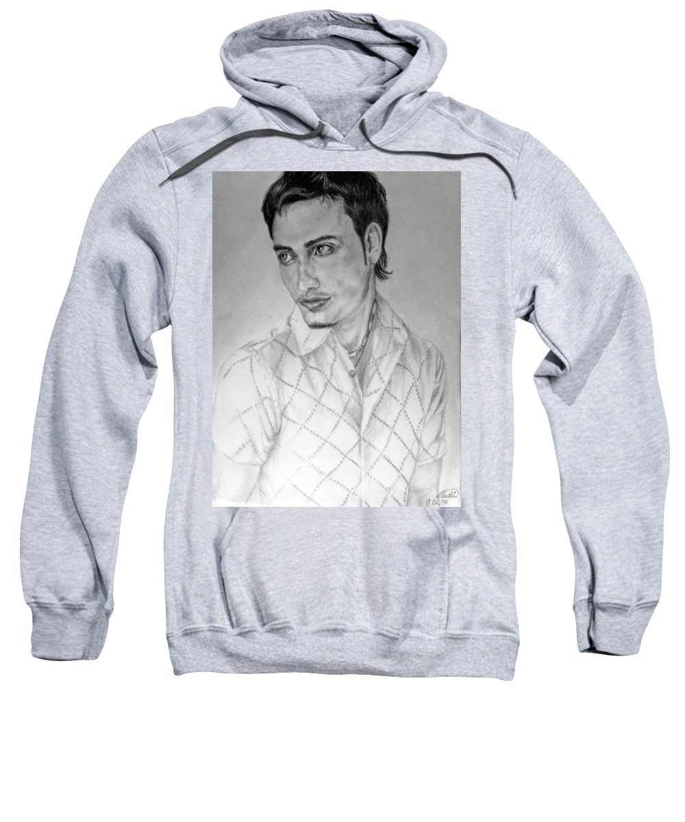 Portrait Sweatshirt featuring the drawing Self Portrait by Alban Dizdari