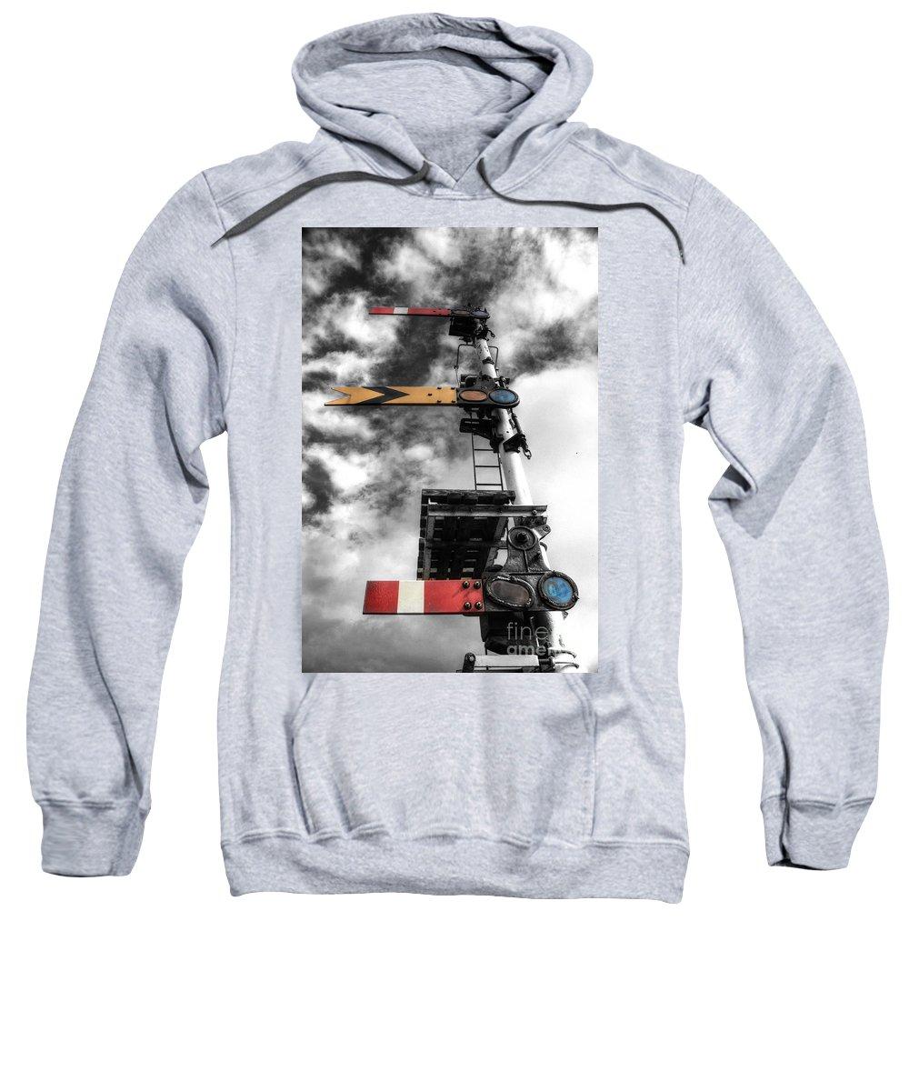 Semaphore Sweatshirt featuring the photograph Semaphore by Rob Hawkins