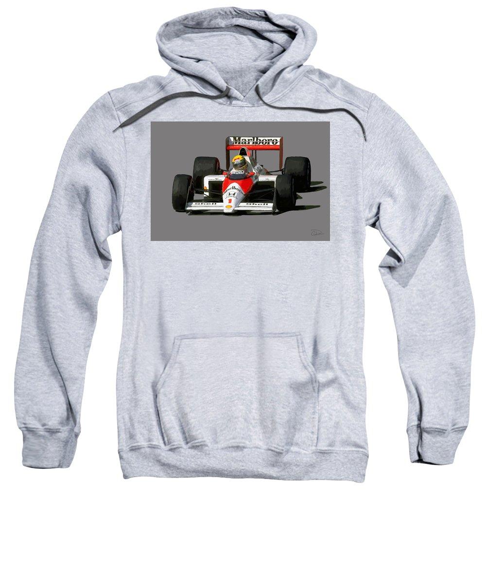 Senna Sweatshirt featuring the digital art Senna '89 by Charley Pallos