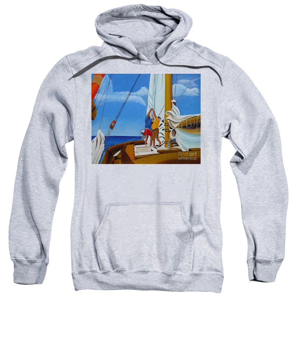 Sail Sweatshirt featuring the painting Setting Sail by Anthony Dunphy