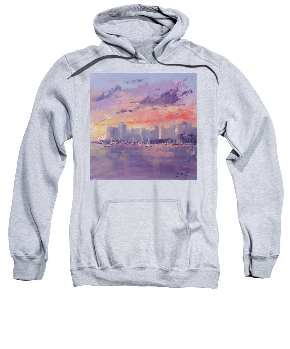 City Sweatshirt featuring the painting Setting Sun Over Boston by Laura Lee Zanghetti