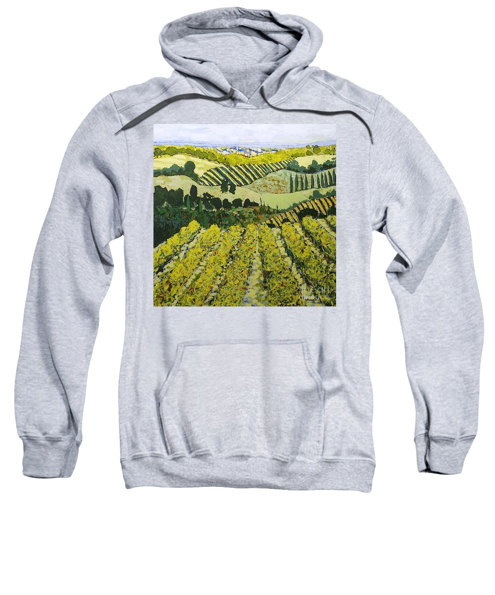 Landscape Sweatshirt featuring the painting Sharing The Discovery by Allan P Friedlander