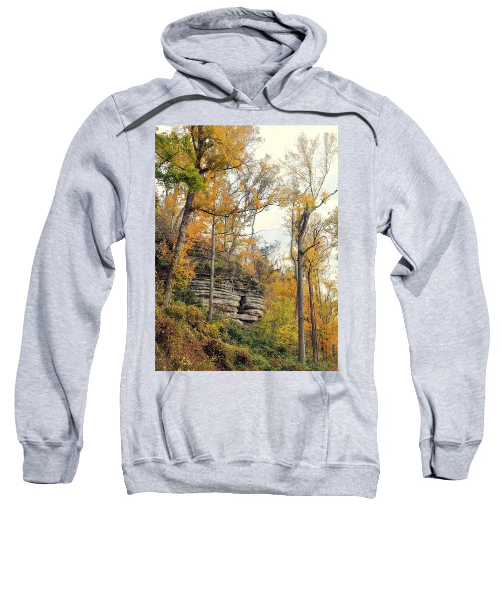 Bluff Sweatshirt featuring the photograph Shawee Bluff In Fall by Marty Koch
