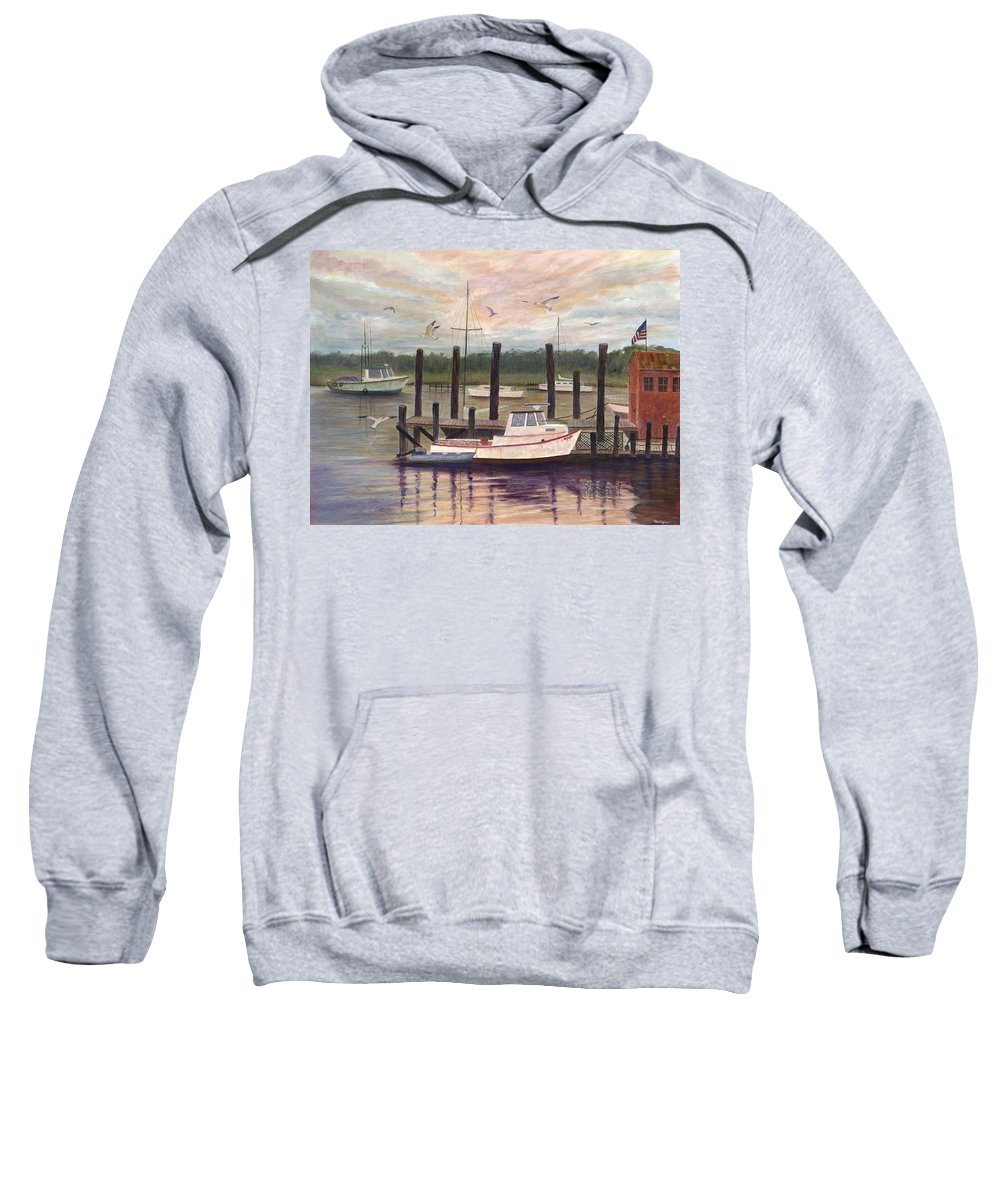 Charleston; Boats; Fishing Dock; Water Sweatshirt featuring the painting Shem Creek by Ben Kiger