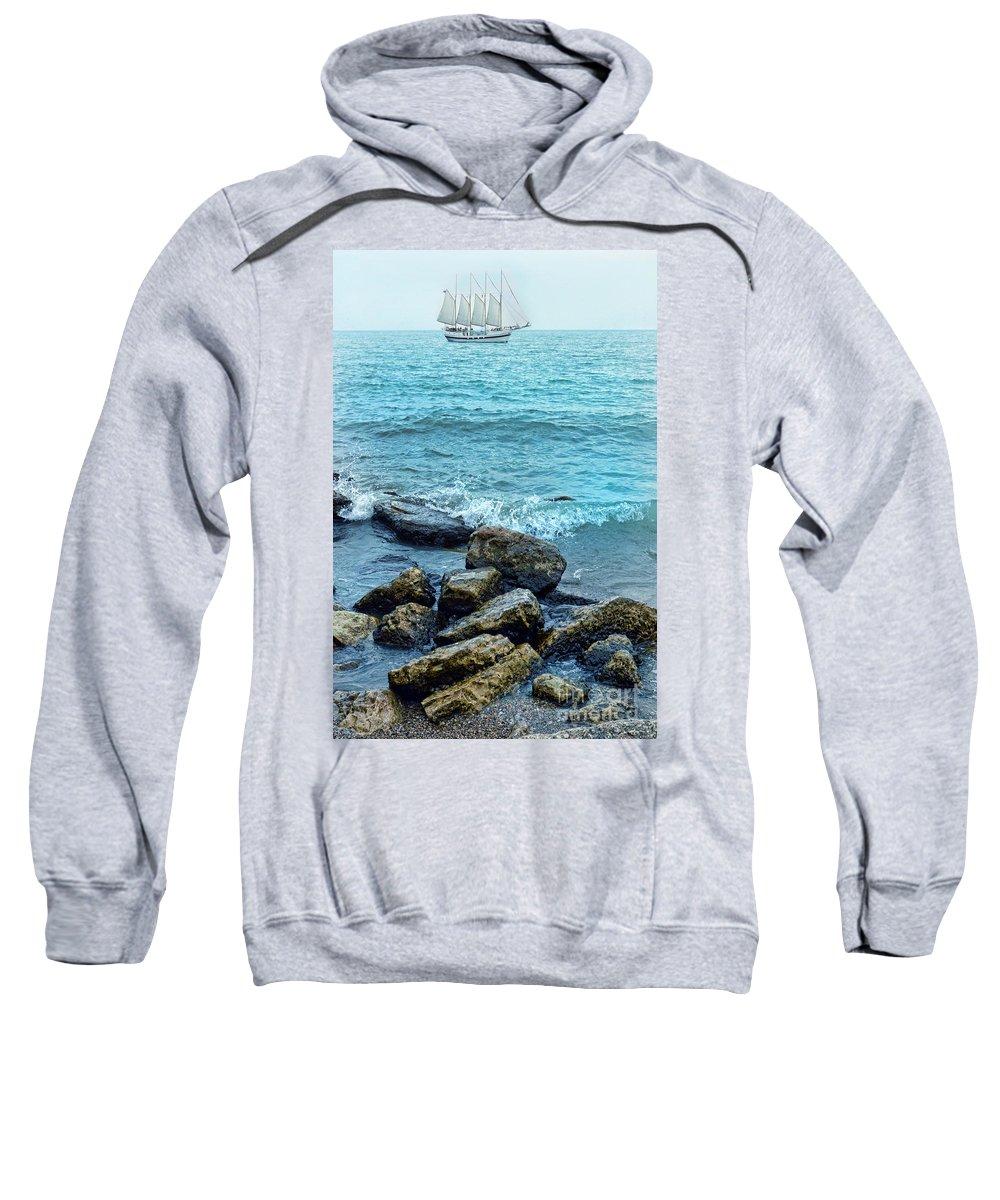 Ship Sweatshirt featuring the photograph Ship At Sea by Jill Battaglia