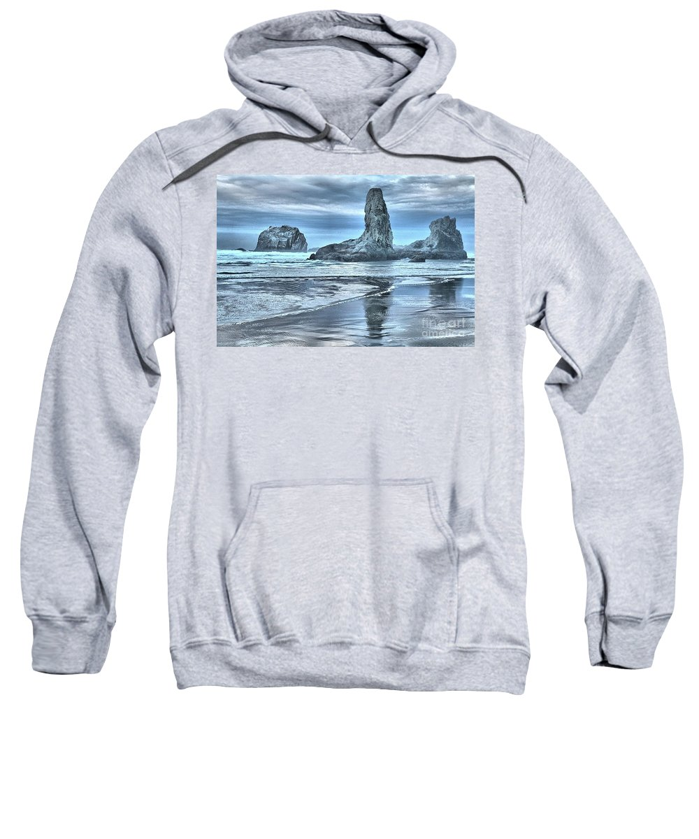 Bandon Beach Sweatshirt featuring the photograph Shore Guardians by Adam Jewell
