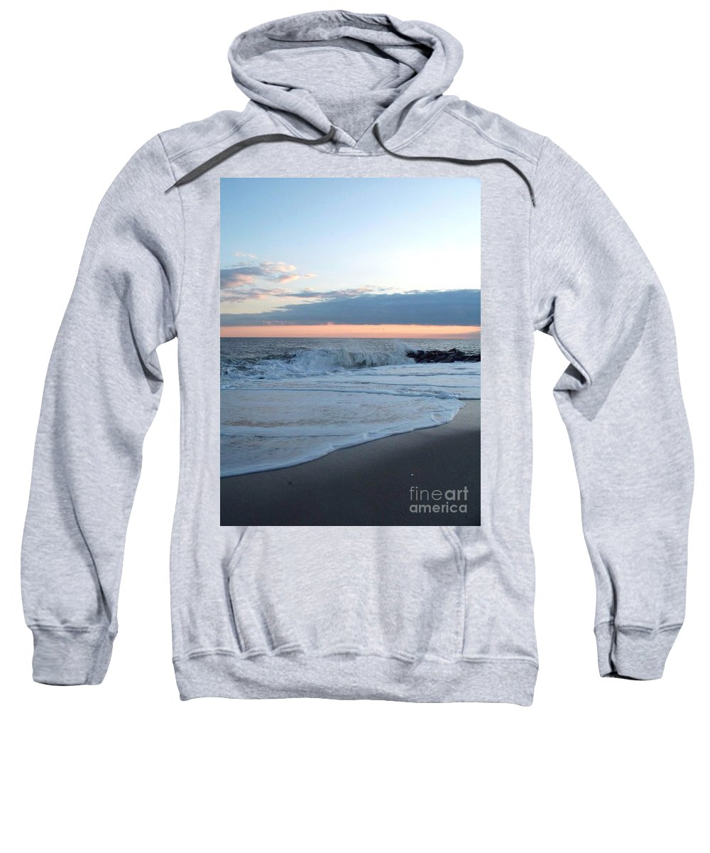 Shoreline Sweatshirt featuring the photograph Shoreline And Waves At Cape May by Eric Schiabor
