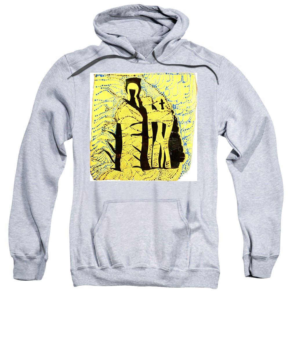Jesus Sweatshirt featuring the ceramic art Shroud Of Jesus by Gloria Ssali