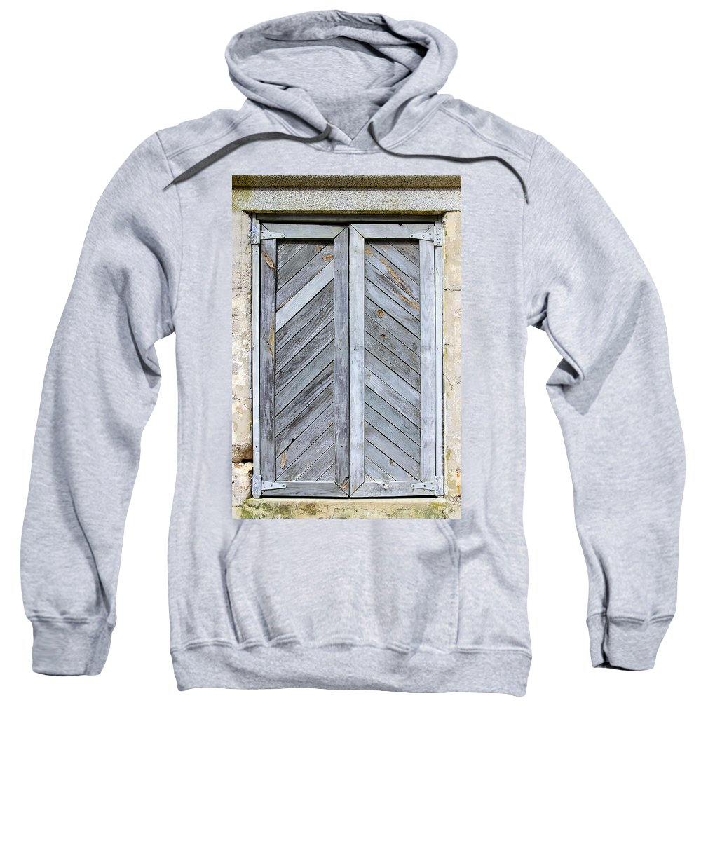 Wood Sweatshirt featuring the photograph Weathered Wooden Shutters by Bob Slitzan