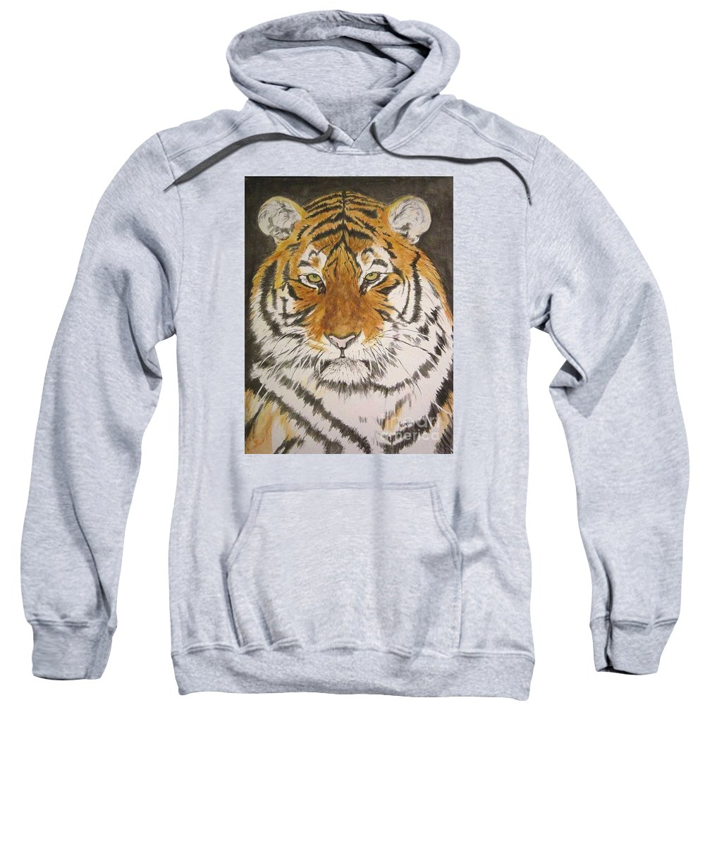 Siberian Tiger Sweatshirt featuring the painting Siberian Tiger by Regan J Smith