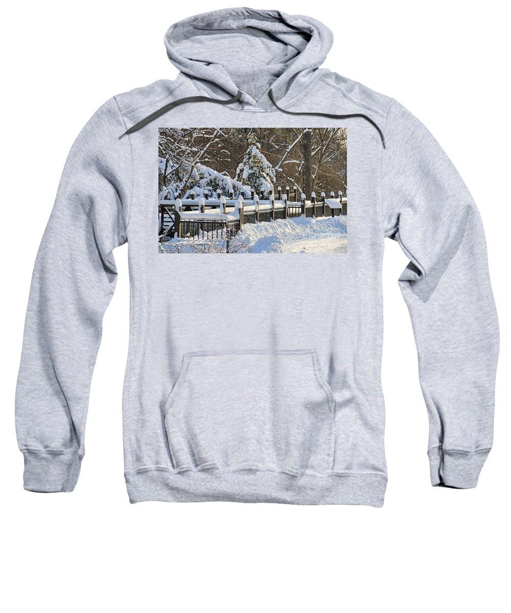 Snowy Fence Sweatshirt featuring the photograph Side Cut Park Winter Wonderland by Jack Schultz