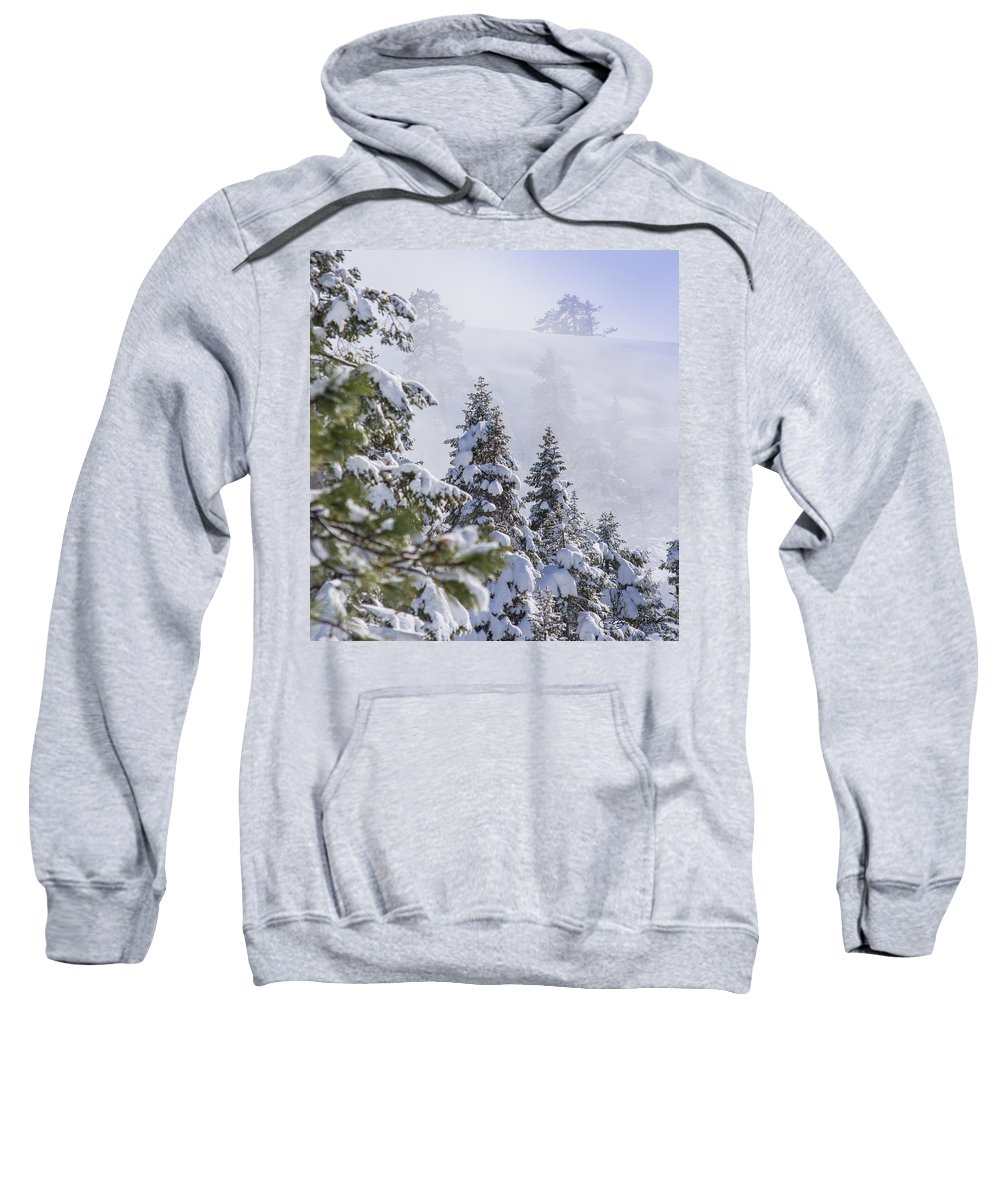 Sierra Nevada Mountains Sweatshirt featuring the photograph Sierra Snow And Fog by Doug Holck