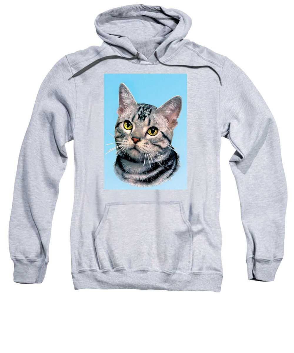 Animals Sweatshirt featuring the painting Silver Tabby Kitten Original Painting For Sale by Bob and Nadine Johnston