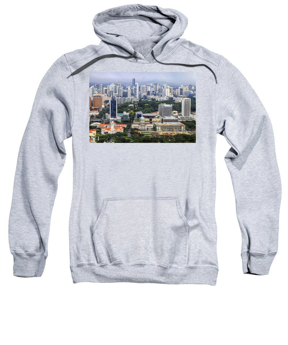 Singapore Sweatshirt featuring the photograph Singapore City Aerial View by David Gn