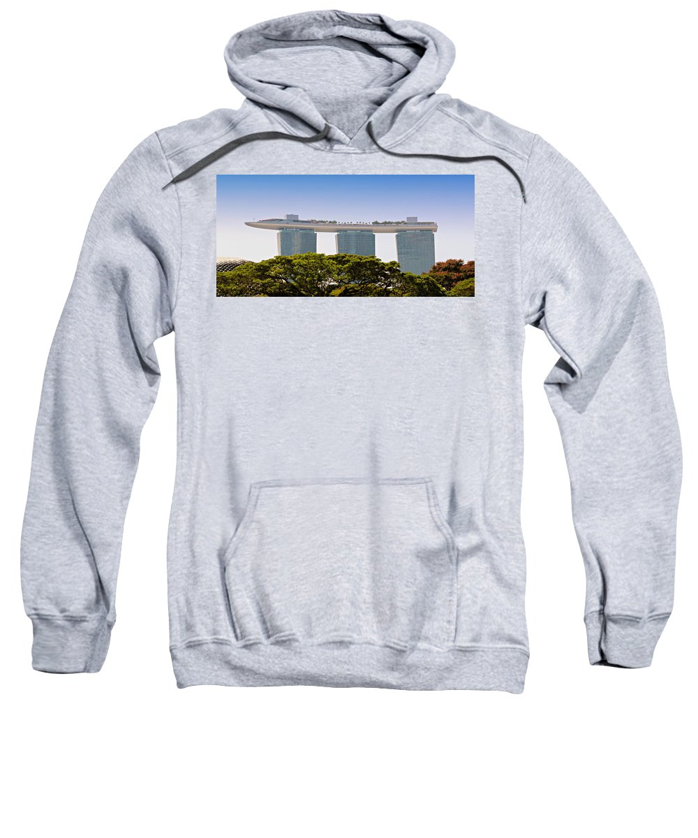 Singapore Sweatshirt featuring the photograph Singapore Marina Bay Sands And Skypark by Paul Fell