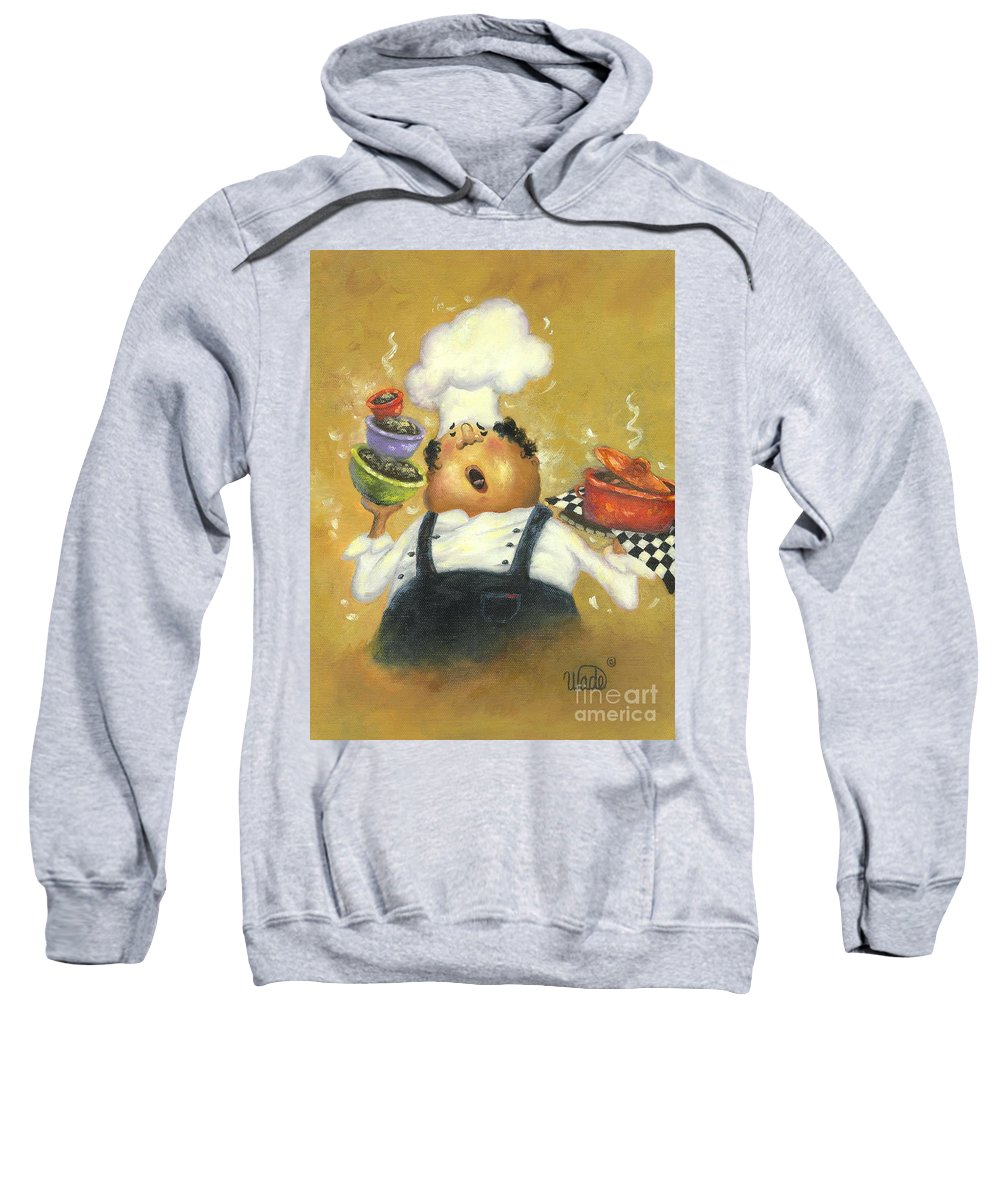 Chef Sweatshirt featuring the painting Singing Chef In Gold by Vickie Wade