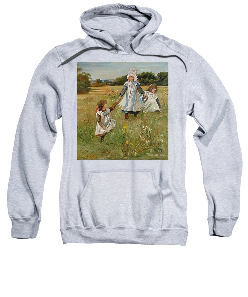 Classic Art Sweatshirt featuring the painting Sisters by Silvana Abel