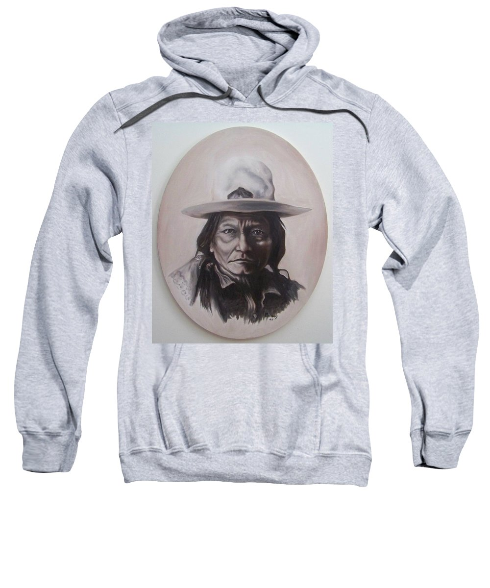 Michael Sweatshirt featuring the painting Sitting Bull by Michael TMAD Finney